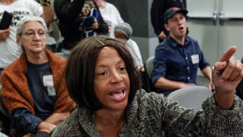 Yvonne Michelle Autry speaks against a proposed LAPD drone policy at the Police Commission meeting Tuesday.