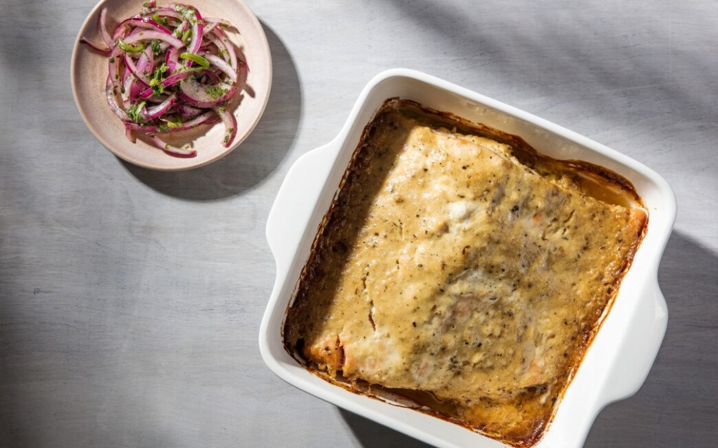 Slow-Roasted Salmon with Charred Garlic Aioli