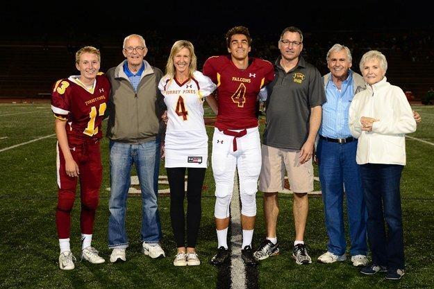 Torrey Pines football and cheerleading teams celebrated Senior Night