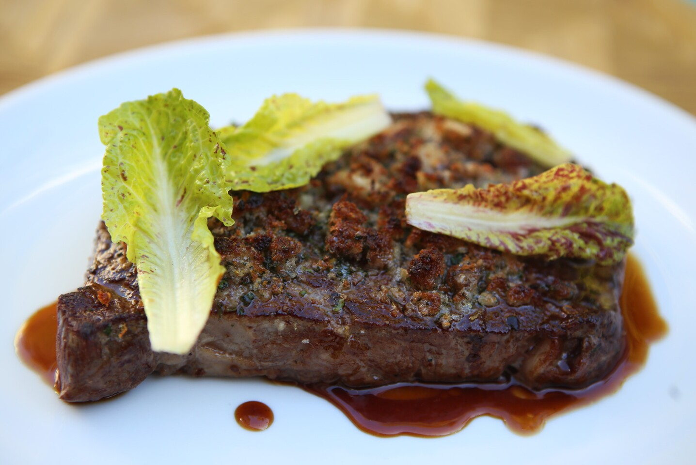 A grilled 12-ounce Piedmontese rib-eye steak is on the menu at Viviane restaurant, in the Avalon Hotel in Beverly Hills. Viviane features dishes by award-winning chef Michael Hung.