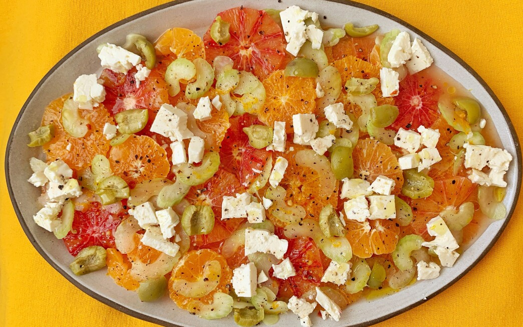 Feta, celery and green olives add just the right amount of saltiness to a salad of sweet orange citrus.