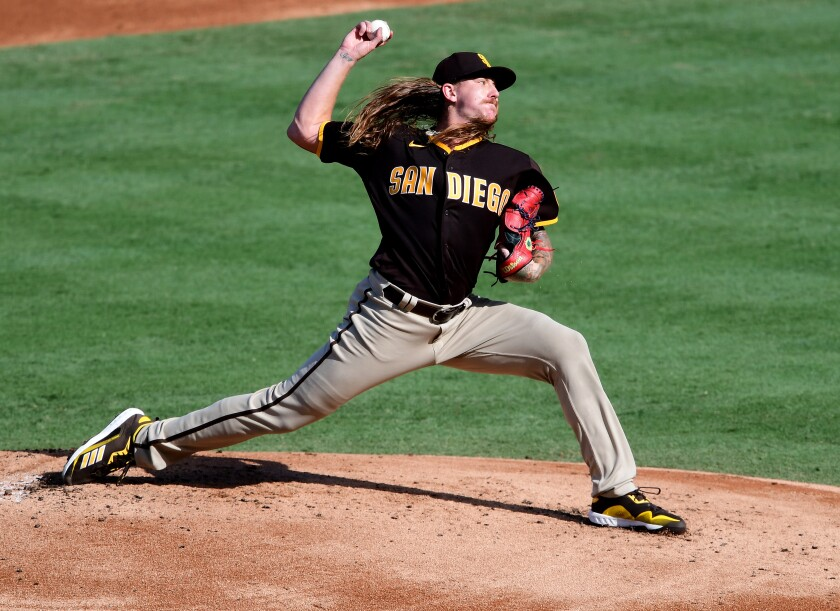 Mike Clevinger of the  Padres pitches in the first inning of the game against the  Angels at Angel Stadium  on Thursday.