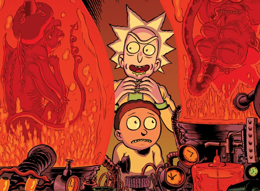 """The variant cover for """"Rick and Morty"""" No. 16 is illustrated by Troy Nixey and Dave McCaig."""