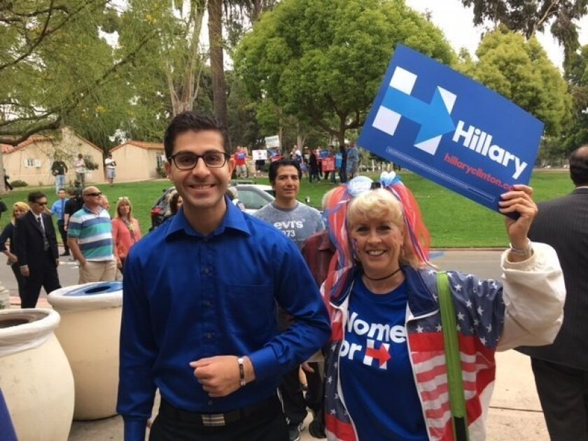 Hillary Clinton supporters enter the Balboa Park Club where Bill Clinton is speaking.
