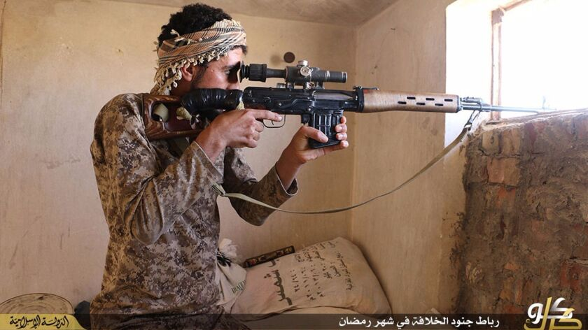 In this photo released on June 23, 2015 by a website of Islamic State militants, an Islamic State militant looks through the scope of his rifle in Kirkuk, northern Iraq.