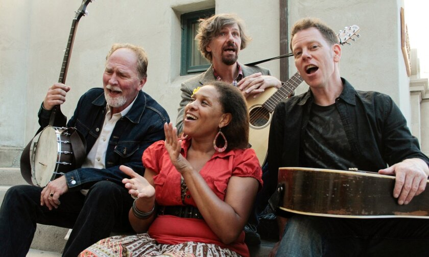 """Vaughn Armstrong, Lisa Payton, Jim Mooney and Dave Crossland (left to right) bring the swing to """"A Hammer, A Bell, and a Song to Sing."""""""