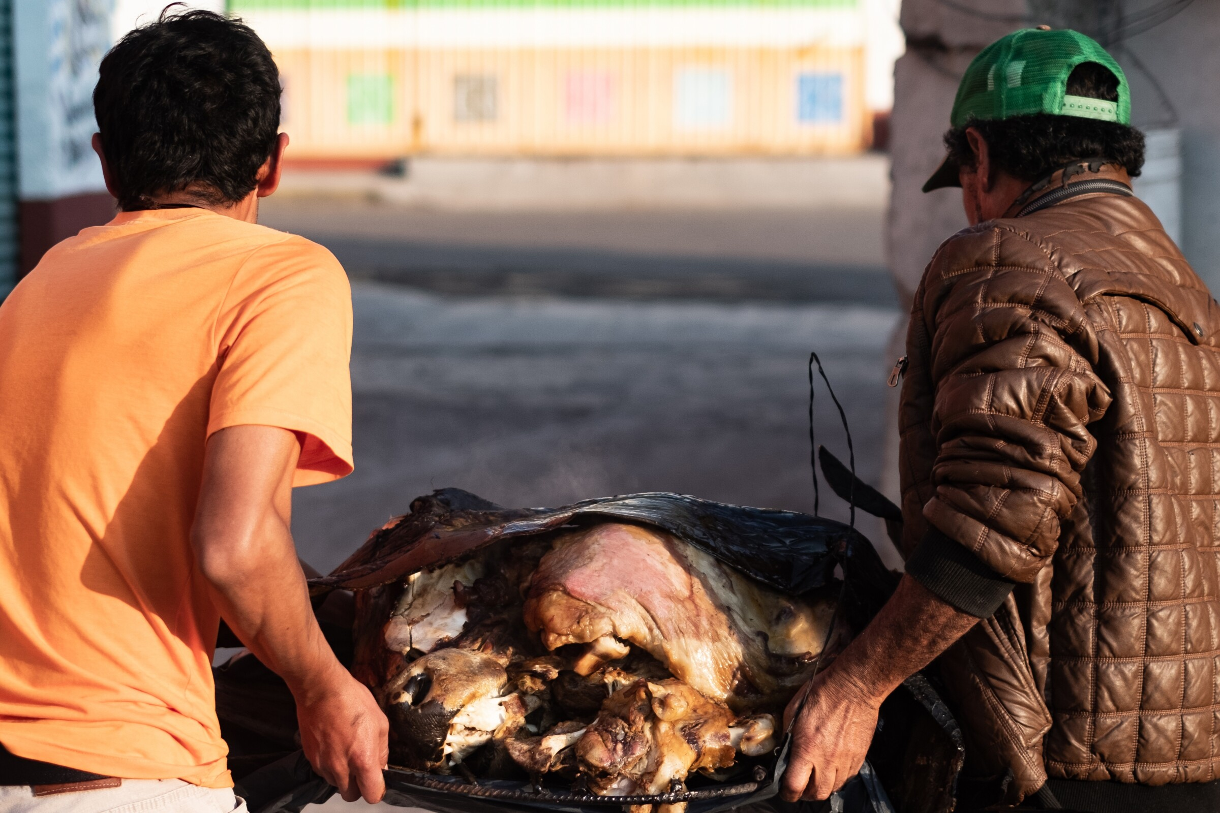 Barbacoa, slowly cooked in a hoyo for 14 hours, is carried out to prepared