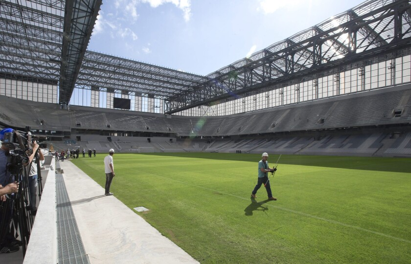 Arena da Baixada in Curitiba, which was visited by FIFA secretary general Jerome Valcke on Tuesday, is one of 12 stadiums that are scheduled to host World Cup games starting in June.