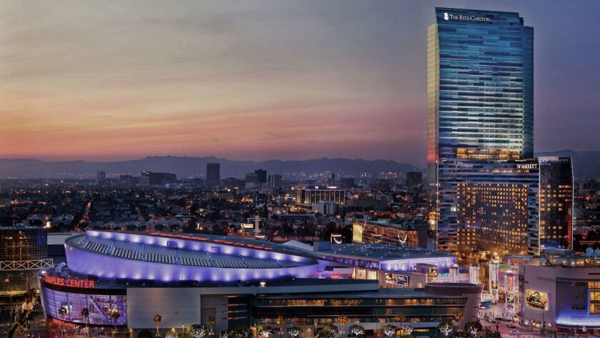 The Ritz-Carlton Residences at L.A. Live overlooks Staples Center.