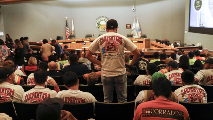 ANAHEIM,CA --TUESDAY, JUNE 19, 2018--Union shirts were out in large numbers during the Anaheim City