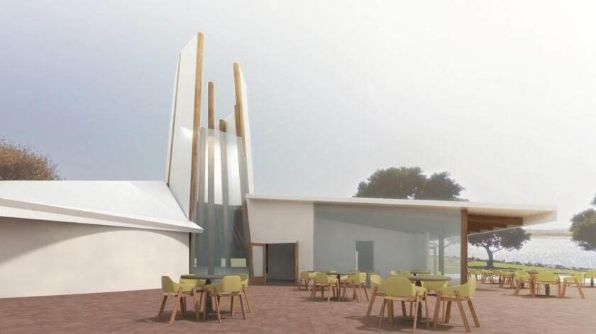 A rendering of the proposed transformation of the former visitor center on east Mission Bay. (Courtesy of Playground Concepts)