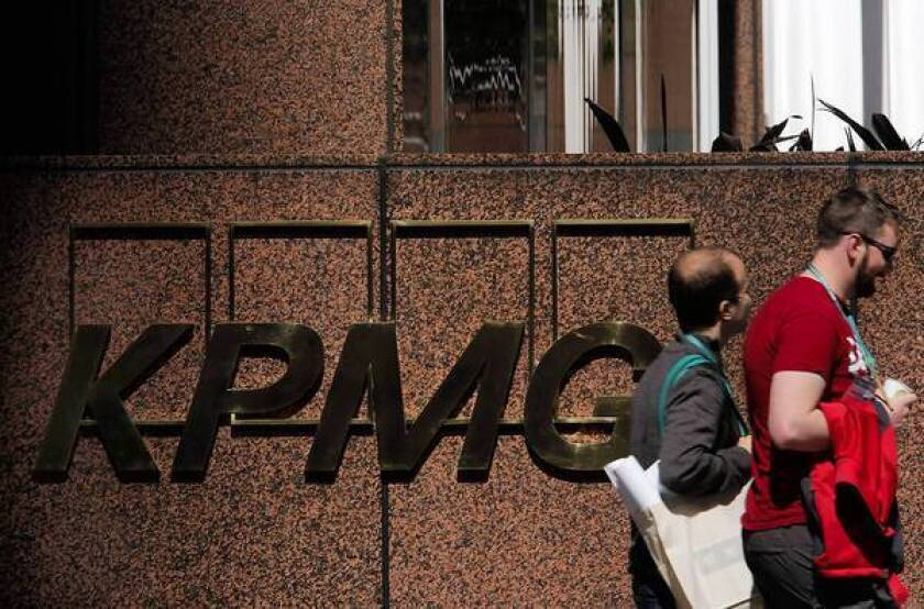 The Los Angeles offices of accounting firm KPMG. Senior KPMG auditor Scott London has been fired for alleged insider-trading activities.