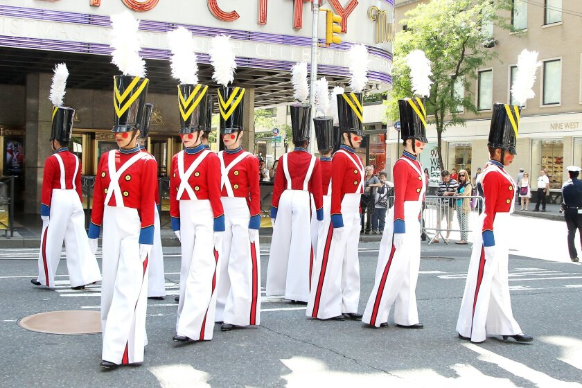 """CORRECTS TITLE OF TO PARADE OF WOODEN SOLDIERS - This image released by Starpix shows The Rockettes dressed as toy soldiers as they perform """"The Parade of the Wooden Soldiers,"""" at Radio City Music Hall in New York, Thursday, Aug. 14, 2014, kicking off the 2014 """"The Radio City Christmas Spectacular,"""" which starts Nov. 7. (AP Photo/Starpix, Dave Allocca)"""