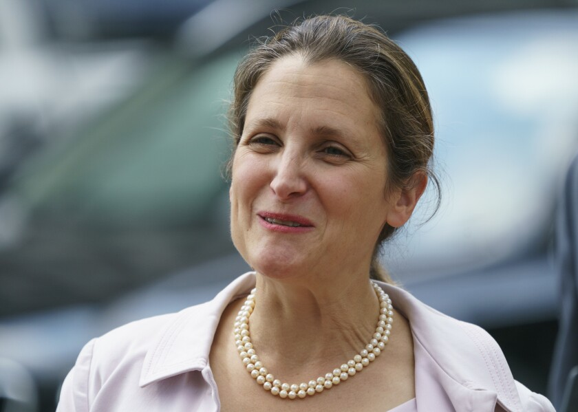 Canadian Foreign Affairs Minister Chrystia Freeland arrives at the Office Of The United States Trade Representative in Washington, Sept. 20, 2018.
