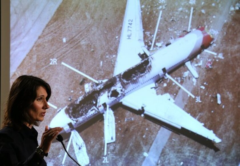 Deborah Hersman, chairwoman of the National Transportation Safety Board, addresses a news conference on the Asiana Airlines crash in San Francisco.