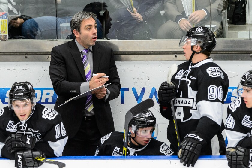 Joel Bouchard, pictured coaching the Blainville-Boisbriand Armada in 2015, is the new coach of the Gulls.