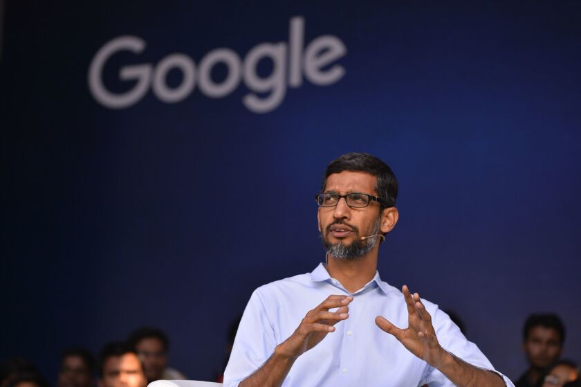 Google Inc. Chief Executive Sundar Pichai addresses students during a forum at the Indian Institute of Technology in Kharagpur on Jan. 5.