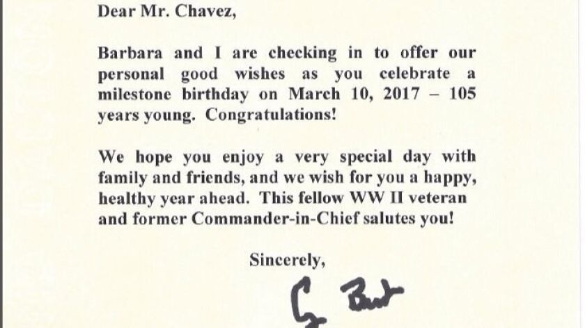 Letter dated Feb. 22, 2017 to Ray Chavez, of Poway, from former President George Bush.