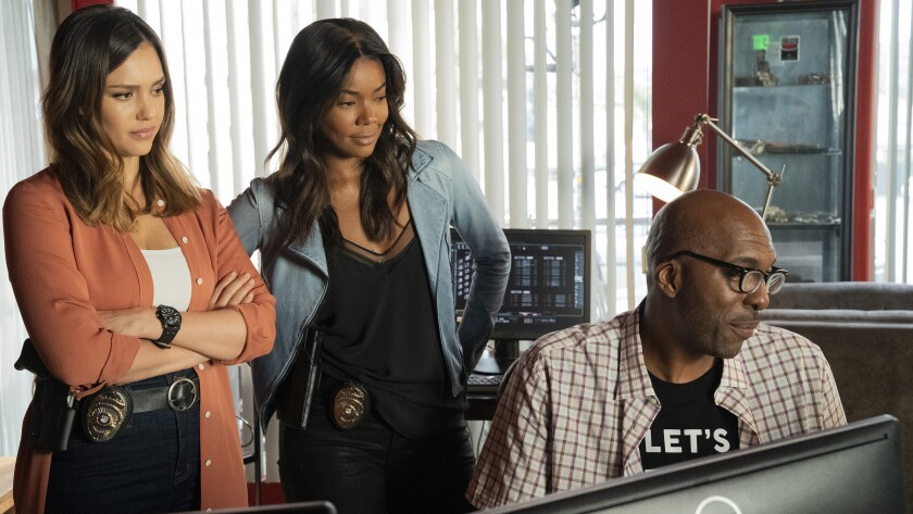 """Jessica Alba, left, Gabrielle Union and guest star John Salley in """"L.A.'s Finest"""" on Fox."""