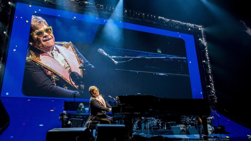 Elton John completed five nights on the L.A. stop of his Farewell Yellow Brick Road tour on Saturday at the Forum in Inglewood.