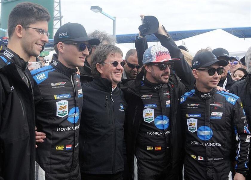The Konica Minolta Cadillac team of (L-R) Jordan Taylor, Renger van Der Zande, Wayne Taylor, Fernando Alonso, and Kamui Kobayashi pose during the 24-hour Rolex Daytona race in Daytona Beach, Florida, on 26 January 2019. EFE-EPA/ Gerardo Mora
