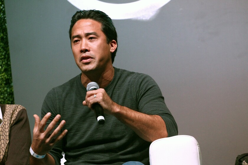 Marc Ching speaks at the 2017 Circle V Festival in Los Angeles.