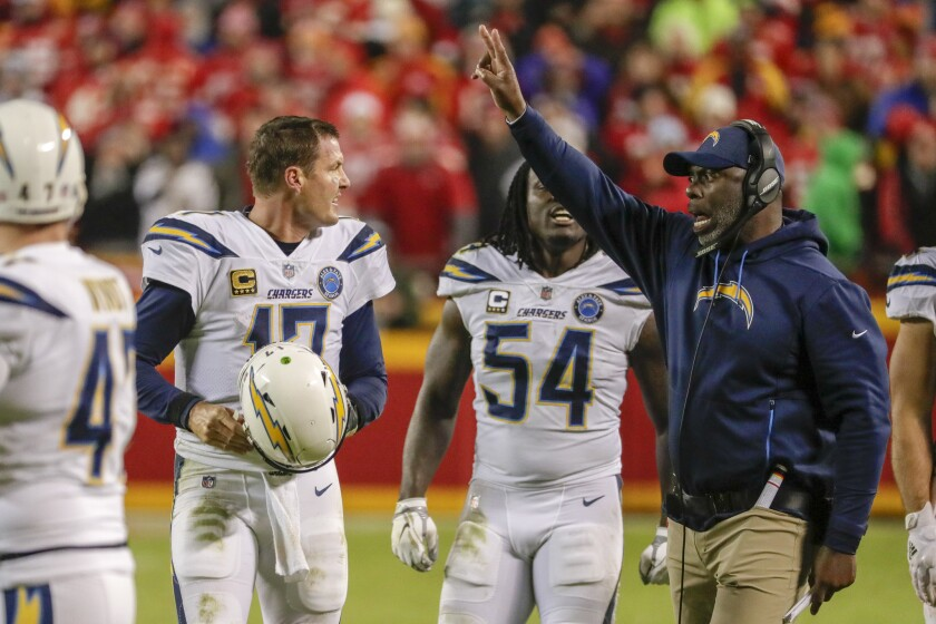 Chargers head coach Anthony Lynn calls for a two-point conversion after quarterback Philip Rivers led the team on a last-minute scoring drive against the Chiefs.