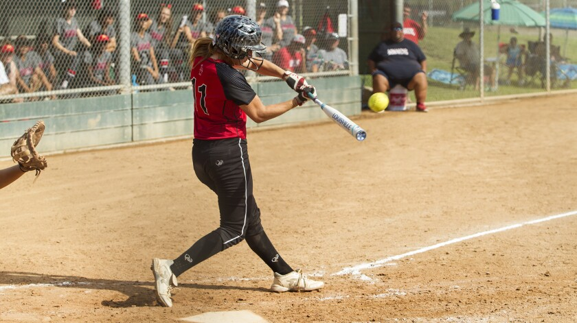 Madeline Domingo hits a single for the Lakewood Firecrackers in a Premier Girls Fastpitch Nationals