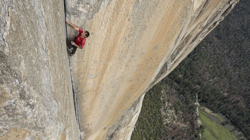 """Climber Alex Honnold tackles Yosemite's El Capitan in """"Free Solo,"""" a film that won both Emmys and an Oscar."""