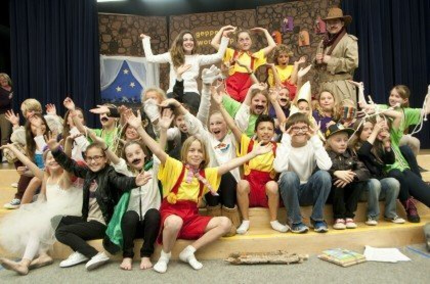 """The cast of the Feb. 12 Del Mar Hills Academy performance of """"Pinocchio."""" Photo/Claire Harlin"""