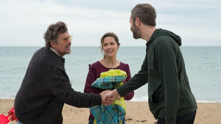 """(L-R) - Ethan Hawke, Rose Byrne, and Chris O'Dowd appear in """"Juliet, Naked"""" by Jesse Peretz, an offi"""