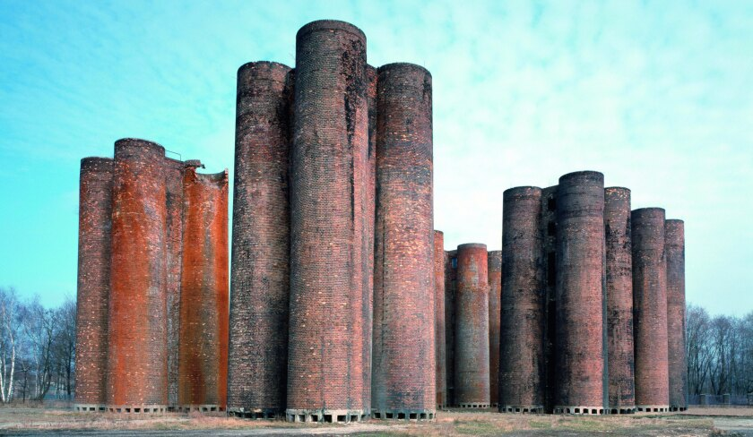 "A photograph featured in Phaidon's book ""Brick"" of Lauchhammer bio-towers, Lauchhammer, Germany, 1958."