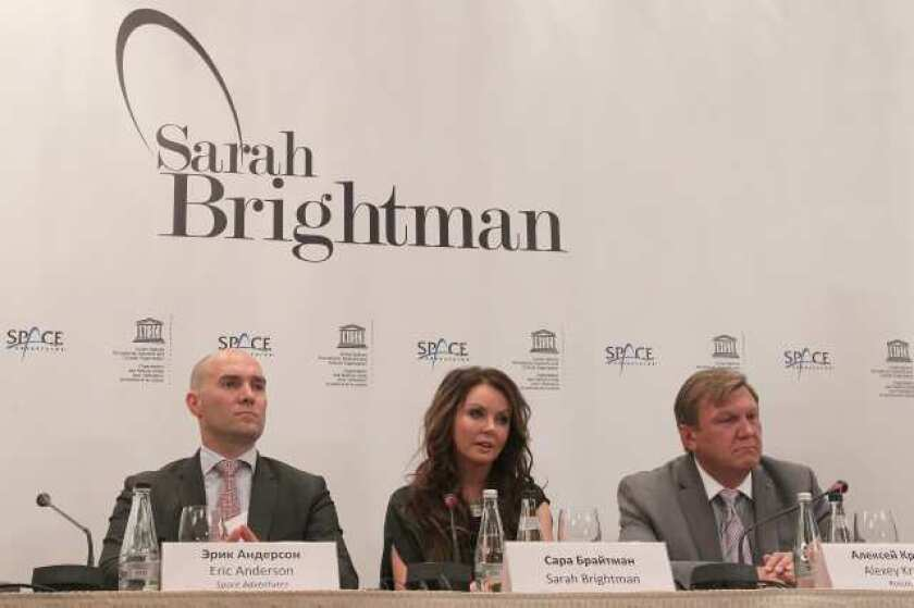 Singer Sarah Brightman at a news conference in Moscow to announce her trip to the International Space Station.