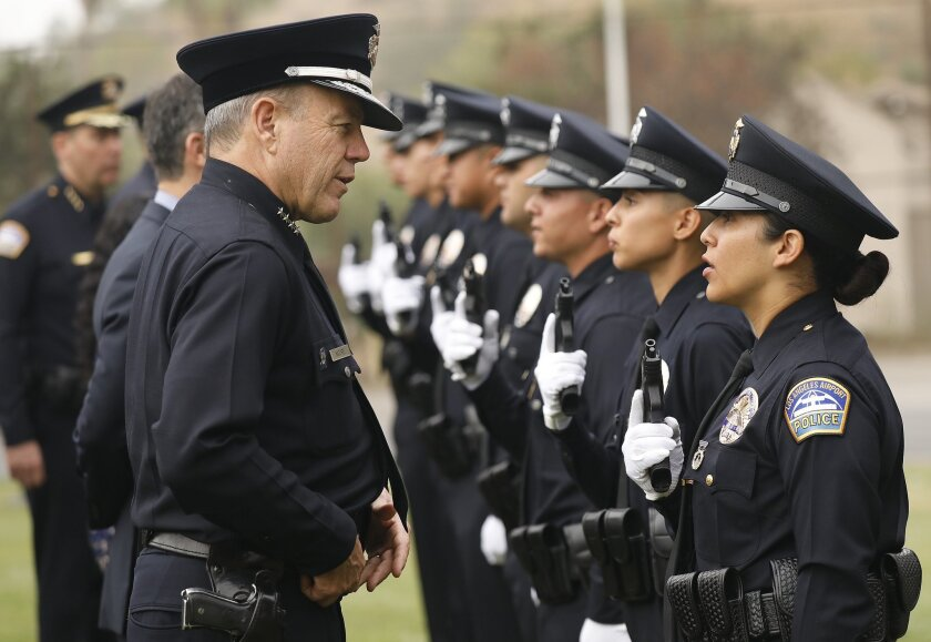 LOS ANGELES, CA - SEPTEMBER 28, 2018 - LAPD Chief Michel Moore talks to recruits during uniform insp