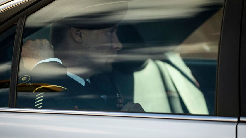 Army Sgt. Bowe Bergdahl leaves the Ft. Bragg, N.C., courthouse after a sentencing hearing on Wednesday.