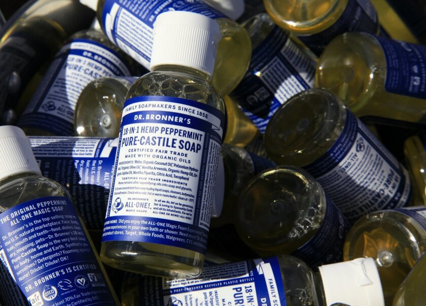 Sample bottles of 18-In-One Hemp Peppermint Pure-Castile Soap at Dr. Bronner's Magic Soaps booth during the Spartan Race 2015 at the Vail Lake Resort in Temecula.