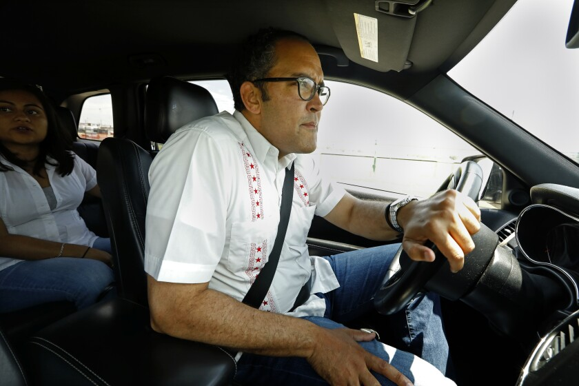 Rep. Will Hurd (R-Texas), on the road near Eagle Pass, Texas, prefers to be in the driver's seat.