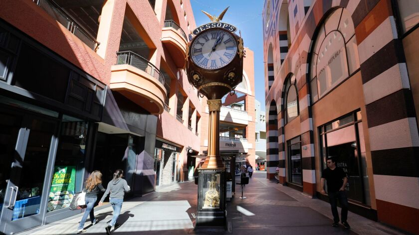 SAN DIEGO, CA 11/9/2017: The Jessop's jeweler street clock in Westfield Horton Plaza will be moved t