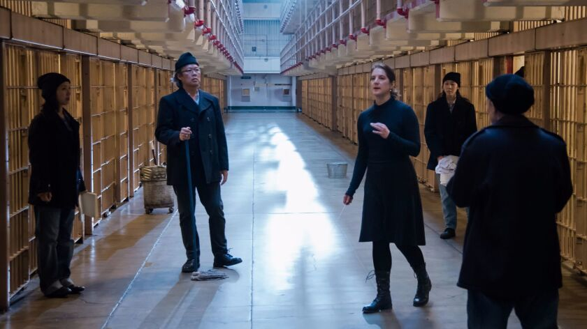 "Composer Lisa Bielawa, center, shooting a scene from ""Vireo"" at Alcatraz Island."