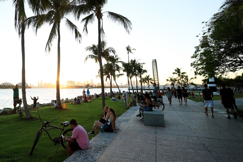 South Pointe Park at sunset on Wednesday in Miami Beach, Fla.