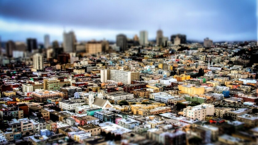 The view of downtown San Francisco as seen from a drone.