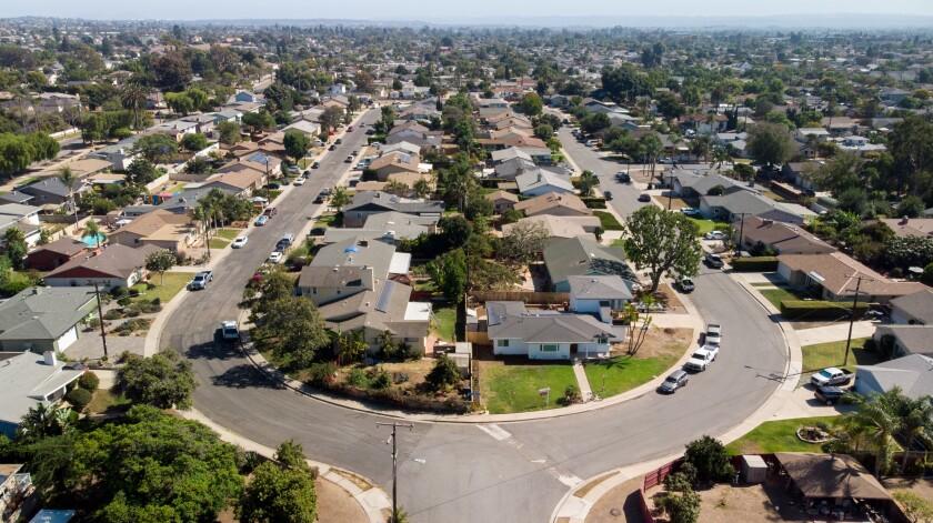 An aerial view of a Chula Vista neighborhood.