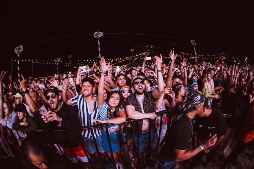 Fans cheer at the 2018 Baja Beach Fest in Rosarito, Baja California, Mexico.