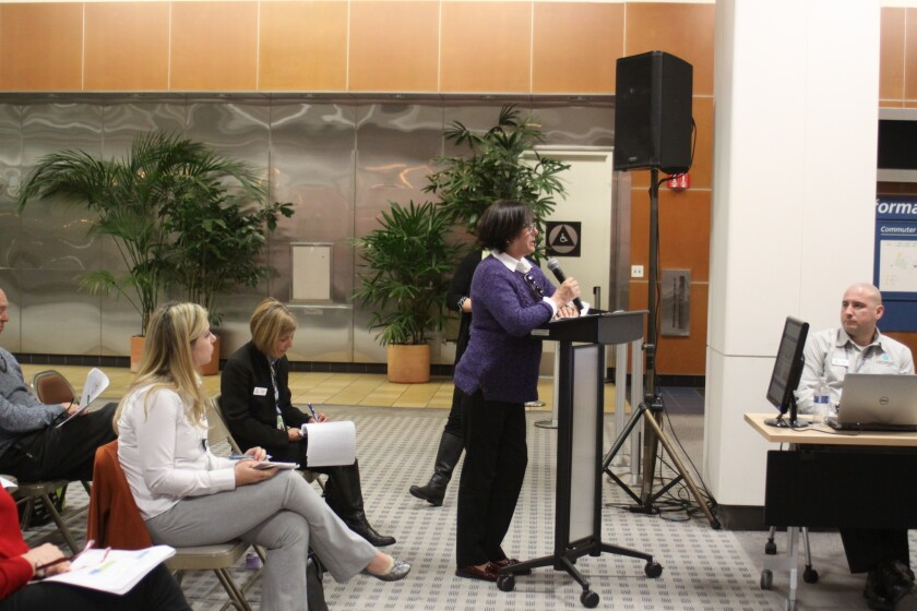 La Jolla Shores resident Karen Marshall speaks before the San Diego County Regional Airport Authority's Airport Noise Advisory Committee, Dec. 21.