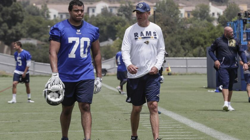 THOUSAND OAKS, CA, MONDAY, JUNE 4, 2018 - Rams rookie offensive lineman Joseph Noteboom talks with c