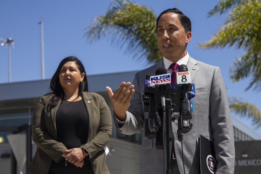 San Diego Mayor Todd Gloria speaks at press conference with District 1 Supervisor Nora Vargas