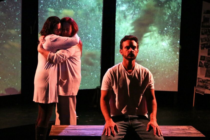 """Jamie Channell Guzman, left, Kaley McKenna and Steve Froelich in InnerMission Productions' world premiere play """"Disappearing Act"""" at Diversionary Theatre Black Box in University Heights."""