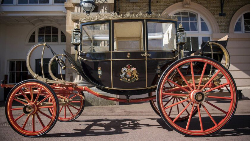The Scottish State Coach, which will be used in the case of wet weather, for the wedding of Britain'