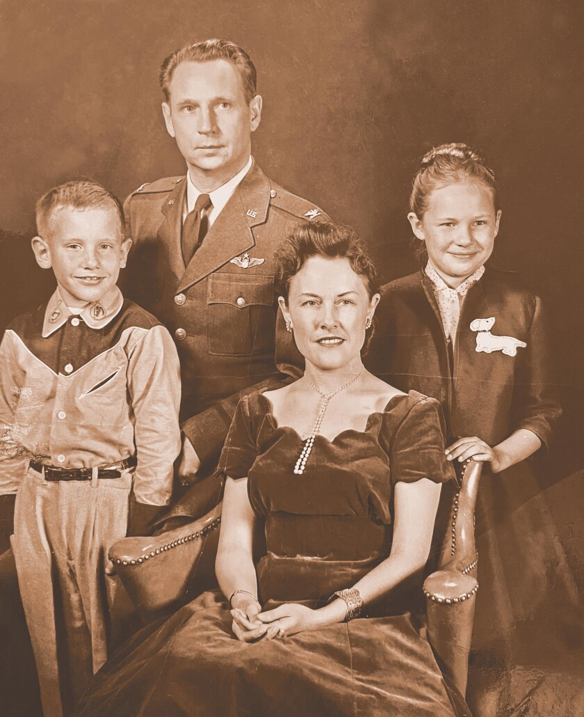Ruth Christensen and her husband John with their children, Lea and John, in 1955