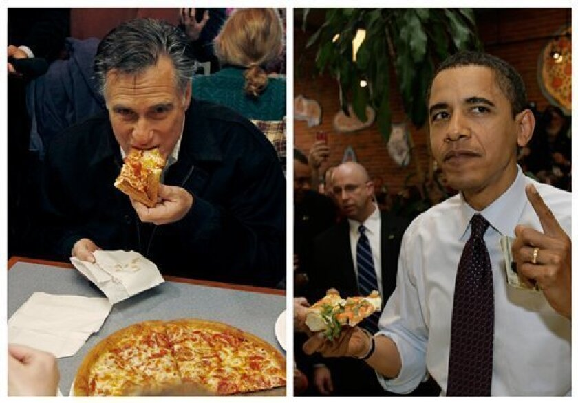 """In this combination of file photos, Republican presidential candidate former Mass. Gov. Mitt Romney, left, takes a bite of pizza during lunch with his wife Ann while campaigning at Village Pizza in Newport, N.H., Dec. 20, 2011, and then-Senator Barack Obama, right, takes a bite of pizza at American Dream Pizza in Corvallis, Ore., March 21, 2008. Pizza Hut is offering a lifetime of free pizza, one large pie a week for 30 years, or a check for $15,600 to anyone who poses the question """"Sausage or pepperoni?"""" to either President Barack Obama or Republican candidate Mitt Romney during the live Town Hall-style debate next Tuesday, Oct. 16, 2012. (AP Photo)"""